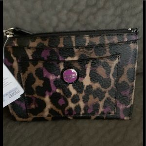 Purple and tan leopard print Coach wallet